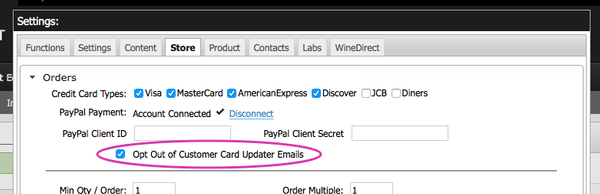 Opt out of customer notification emails via Website Settings