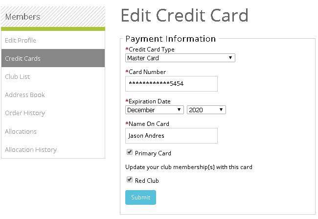 list of credit card numbers