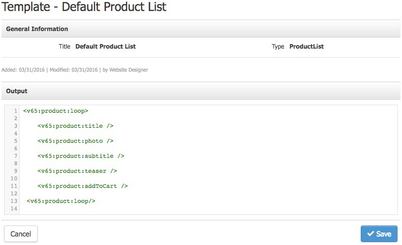 2. Create HTML Output  Product List Template