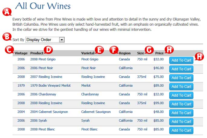 designed supplied list of wines