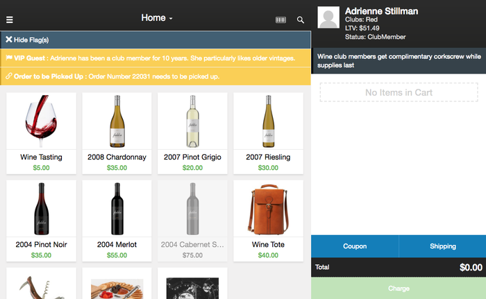 WineDirect POS Customer Flag Examples