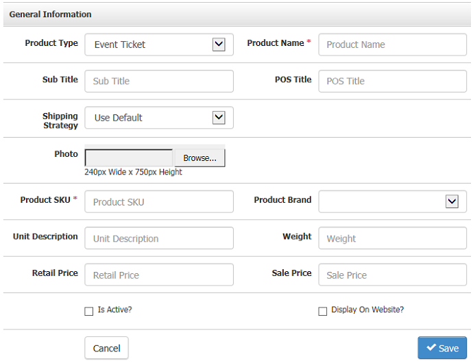 product type event ticket